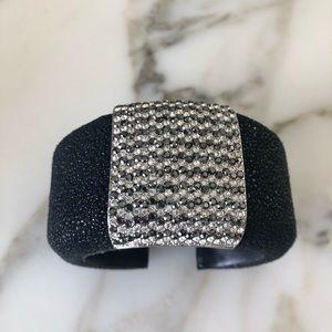 Vintage Pebbled Leather Cuff Bracelet Rhinestones